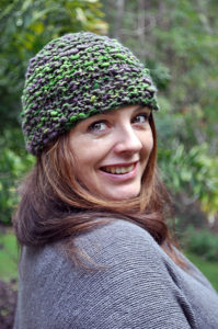 Here's a pic of me wearing a hat I knitted with some of my Hand Spun.