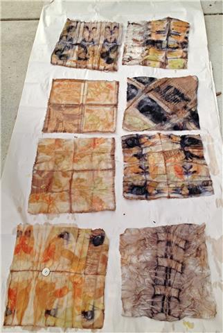 These are all samples of different materials, silk, wool, cotton,  and blends. Its amazing how plants , rust and wood take to the different materials.